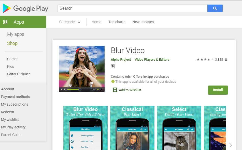 blur video for android