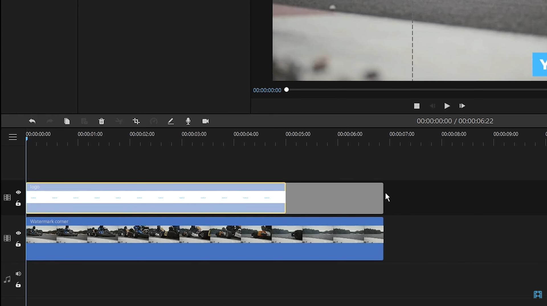 bring the video or image to the timeline to overlay watermark