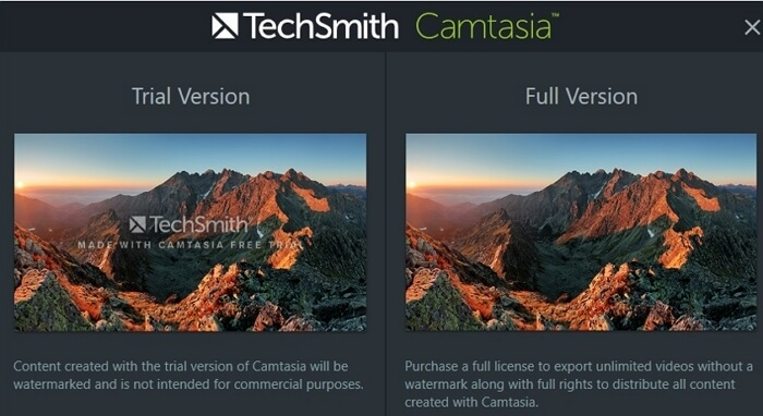 camtasia proceed without watermark