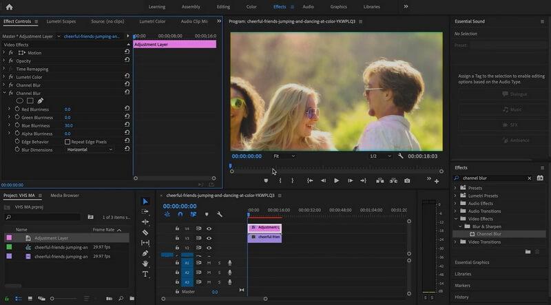 change blur settings original layer