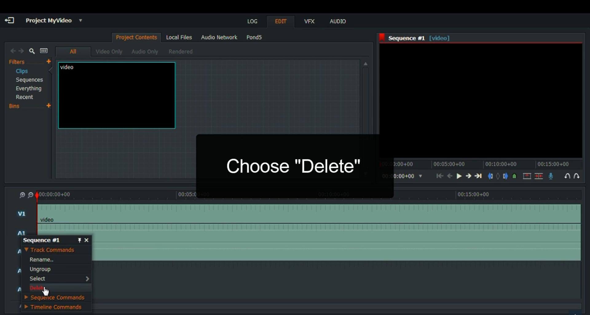 choose delete to delete audio in lightwork