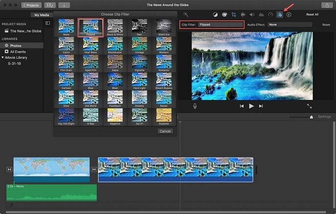 choose the clip filter in imovie