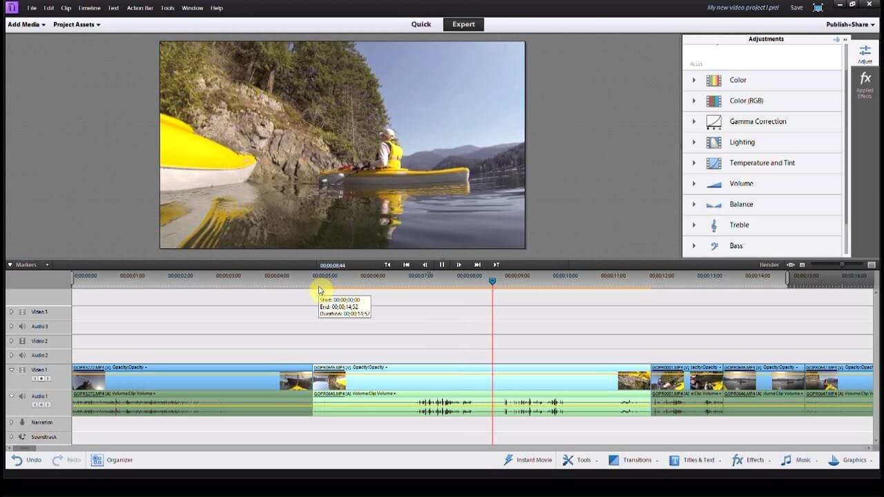 choose the video option in adobe premiere elements
