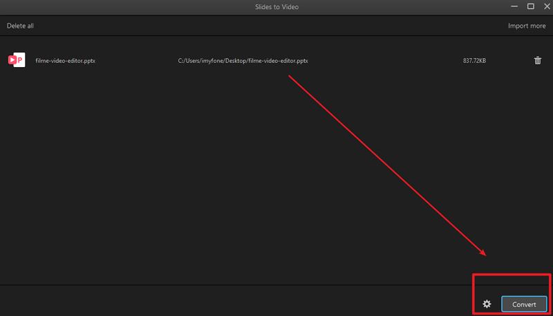 click convert option