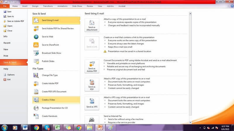 click file on powerpoint