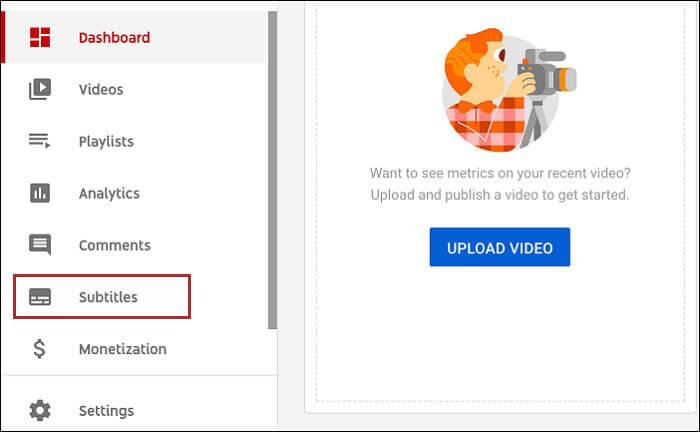 click subtitles on youtube studio