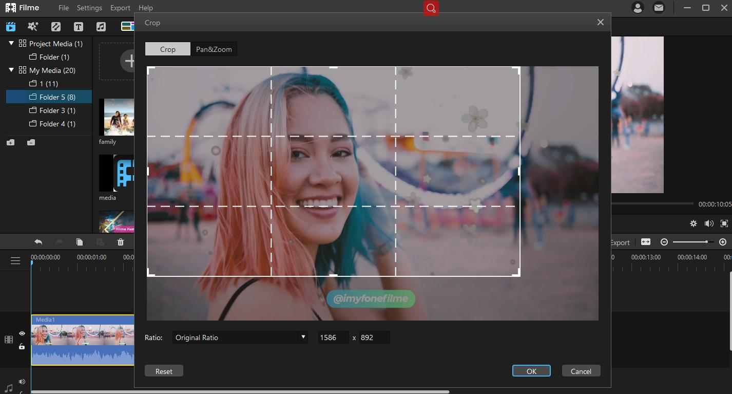 crop video clip in filme toremove watermark and text