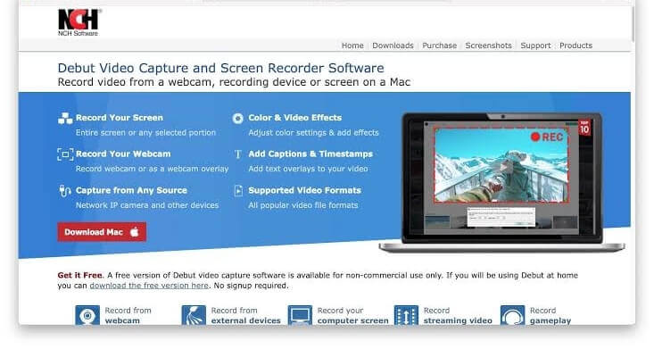 debut screen recorder for video recording