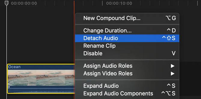 detach  audio in final cut pro