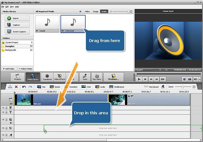 drag audio in avs video editor