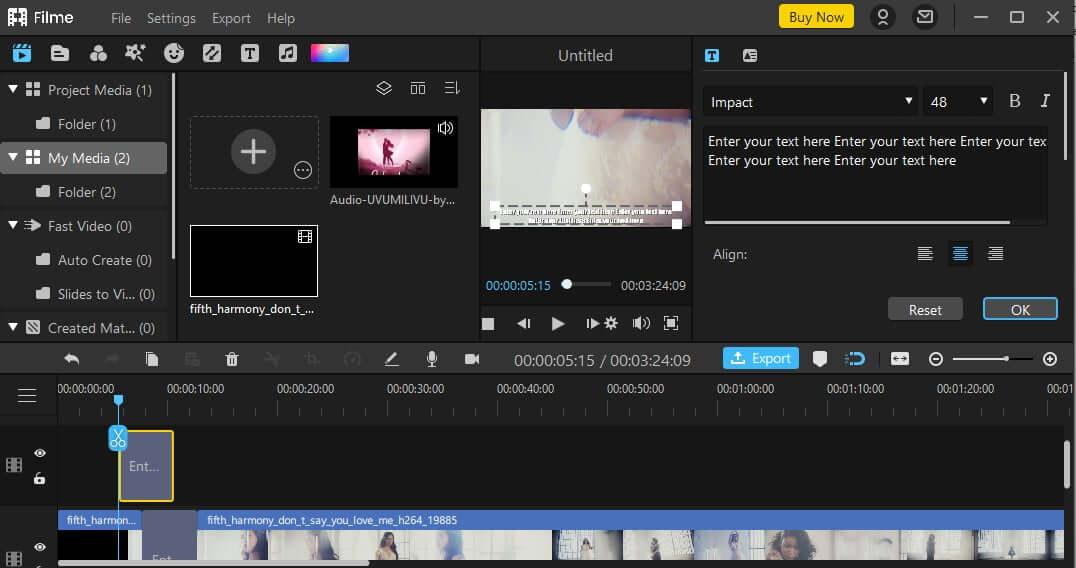 edit your effect on iMyFone Filme4