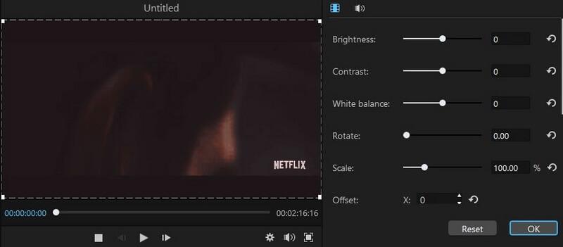 editing settings filme