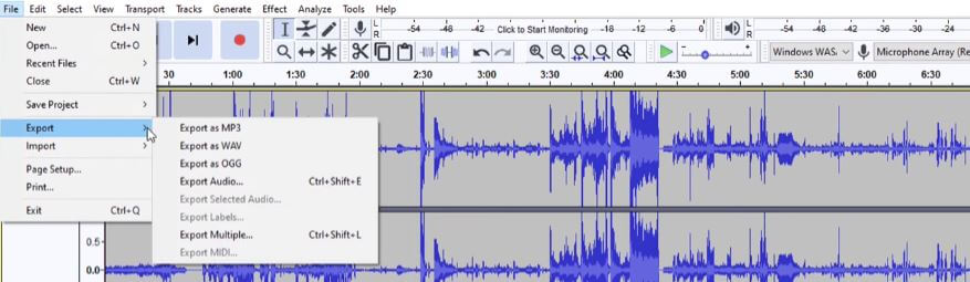 export file from audacity