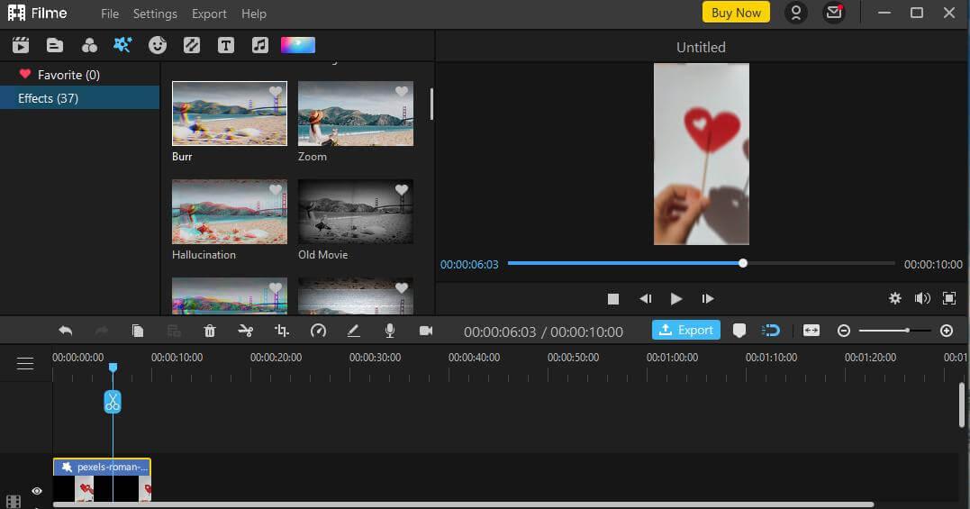filme blur effect applied