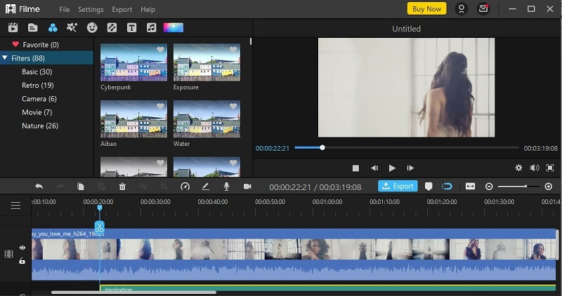 filme choose filters to add to video