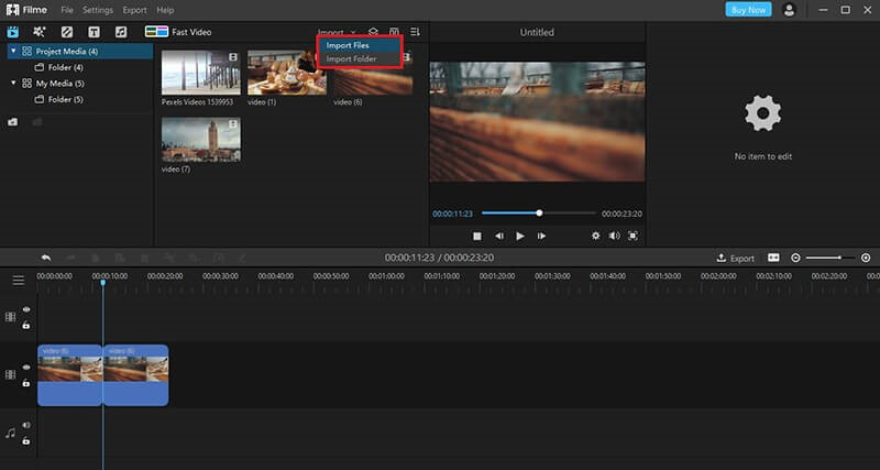 filme import files button interface