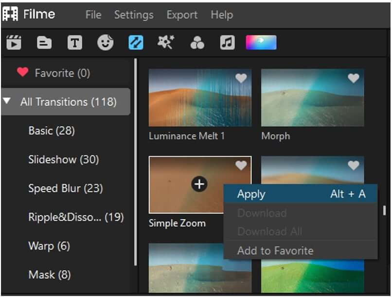 filme simple zoom transition