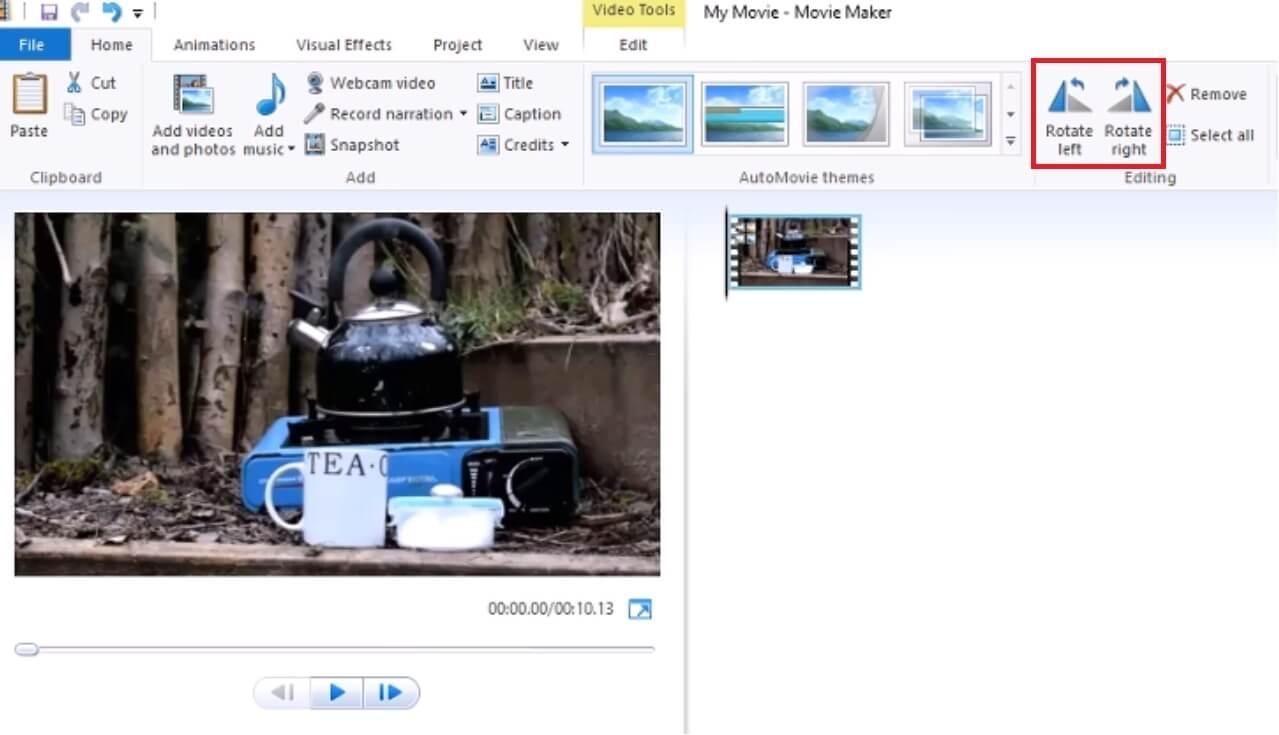 flip video from portrait to landscape using window media player