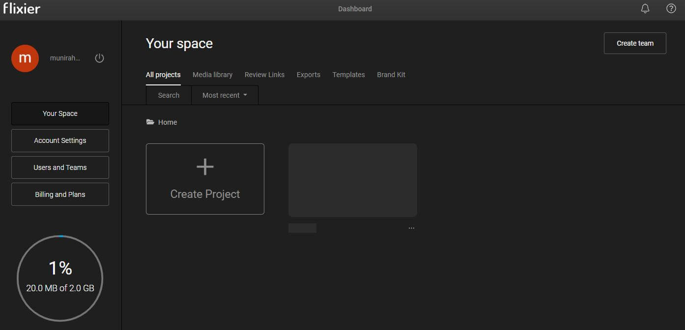 flixier create project