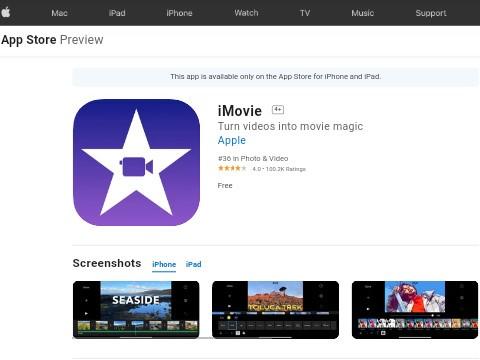iMovie free video template