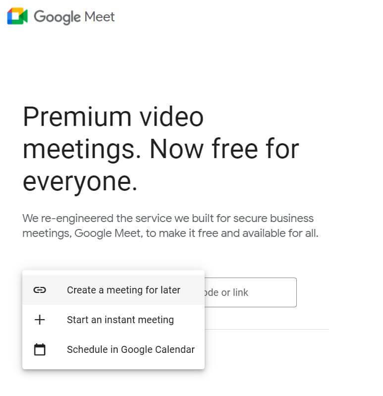 google meet start instant meeting