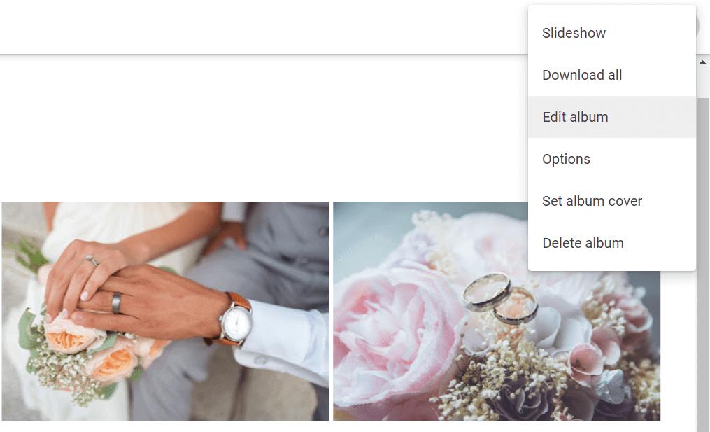 google photos edit album