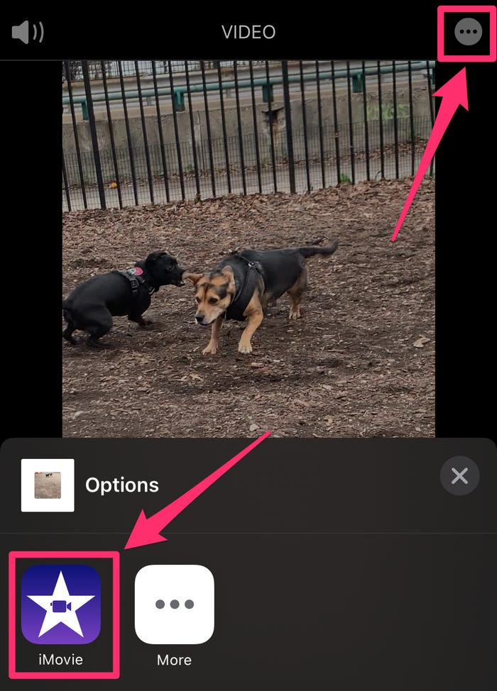 hit the three dots in ios imovie