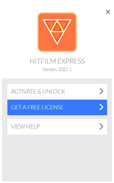 hitfilm get free license