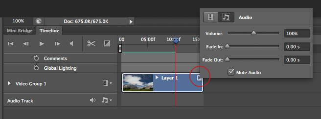 how to mute audio in photoshop cs6