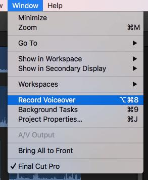 how to record voiceover in fcp