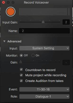 how to record voiceover in fcp2