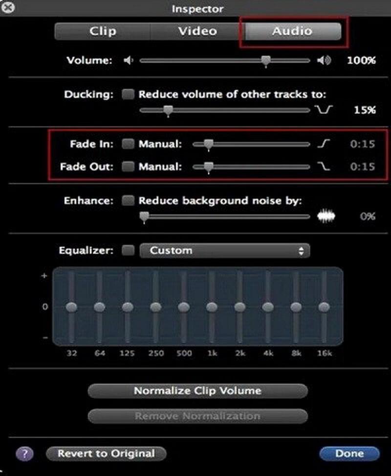 imovie audio inspector fade