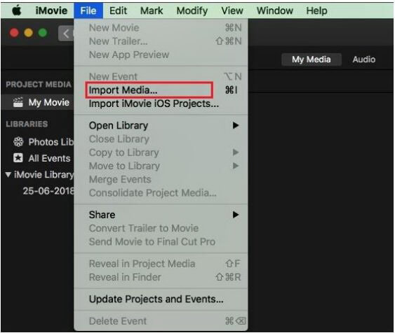 import audio and video files in imovie on mac