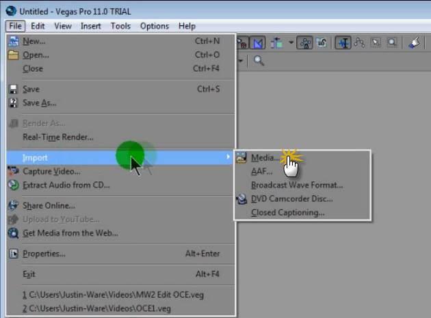 import video in vegas
