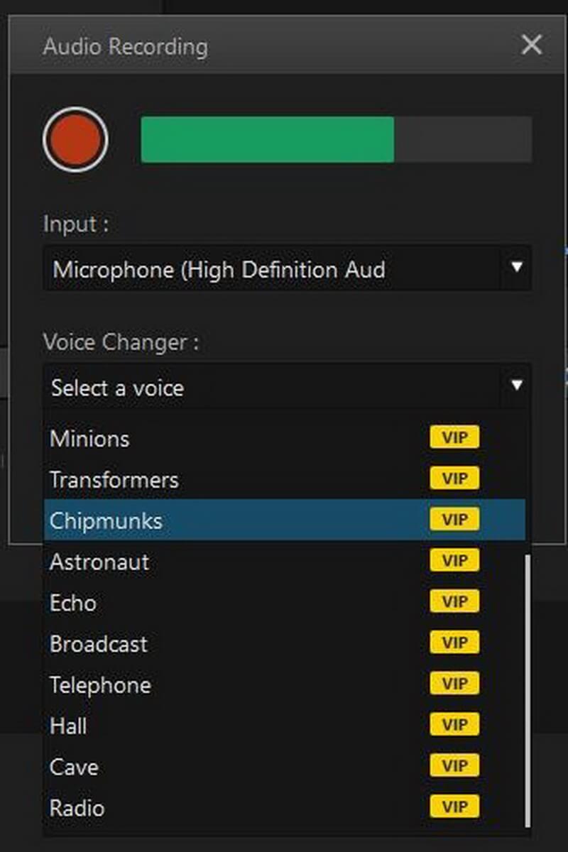 imyfone filme voice recorder options