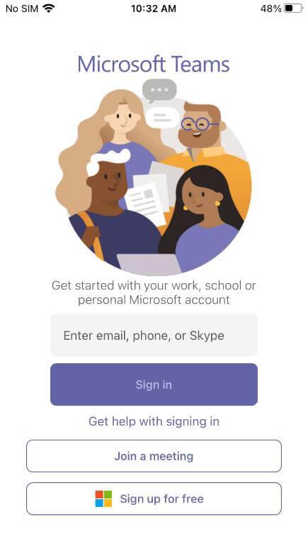microsoft teams app sign in