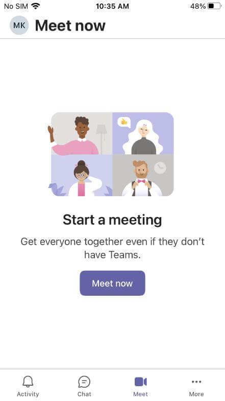 microsoft teams app start meeting