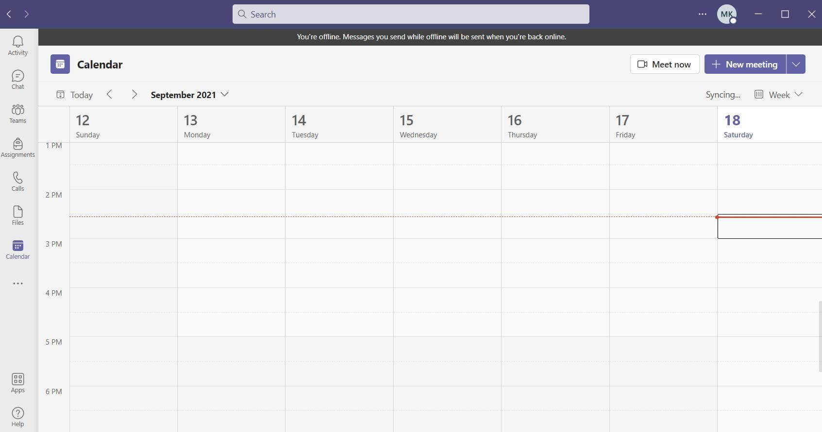 microsoft teams calendar