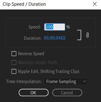 modify the speed premiere pro