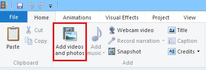 add video photos on movie maker