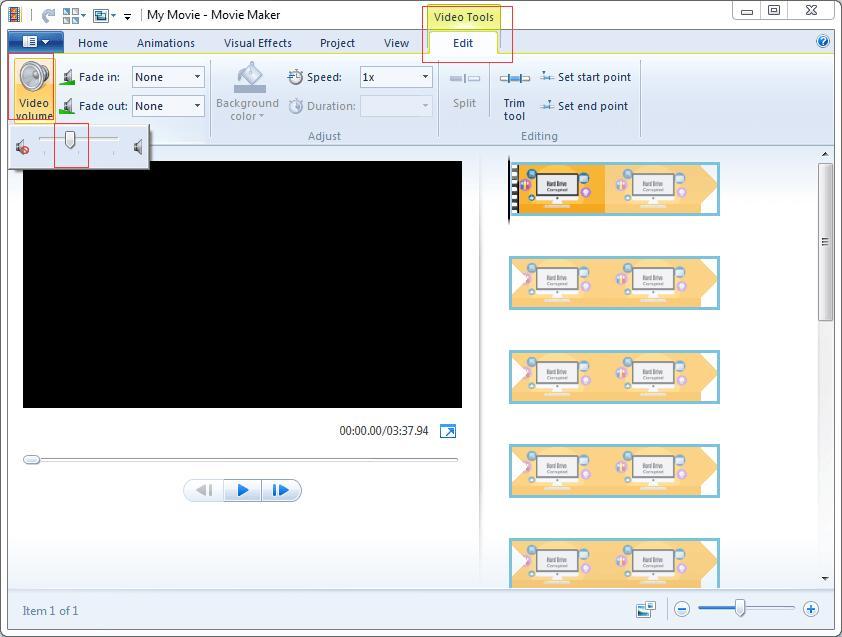 movie maker audio removal2