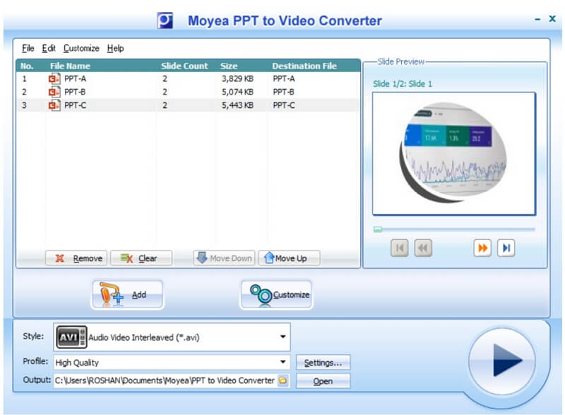 moyea ppt to video converter add files