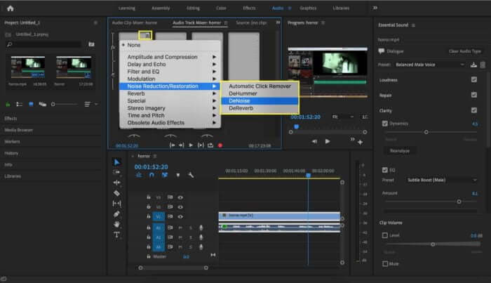 open the audio track mixer panel premiere pro