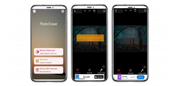 photo eraser interface to remove snapchat caption