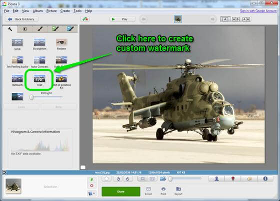 picasa-Edit-View-Mode