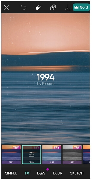 picsart select filter