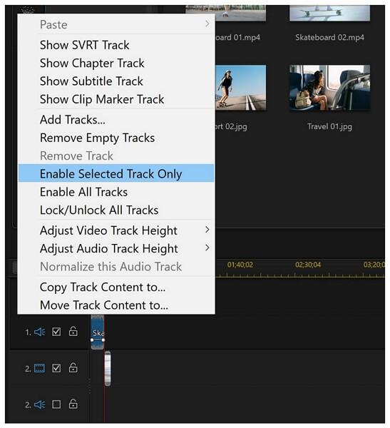 powerdirector enable selected track