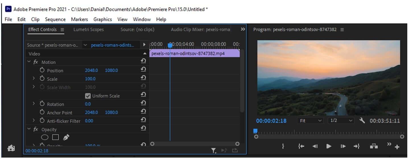 premiere pro effects control