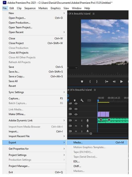 premiere pro export file