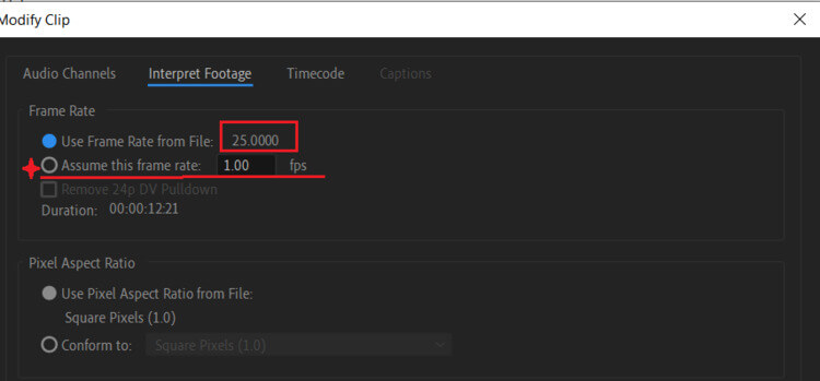 press the assume this frame rate premiere pro
